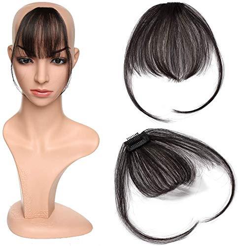 Extension Capelli Veri Clip Frangia Capelli Naturali Lisci Remy Human Hair Frangetta Fascia Unica Air Bangs Fringe, 1B Nero Naturale