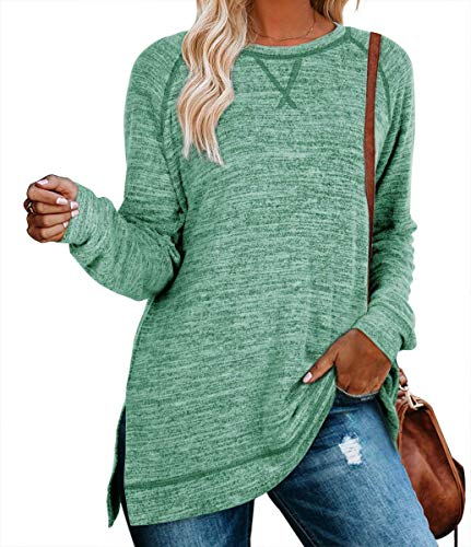 Long Shirts For Women To Wear With Leggings Basic Long Sleeve Loose Sweartshirts Maternity Tunic Tops(S,Green)