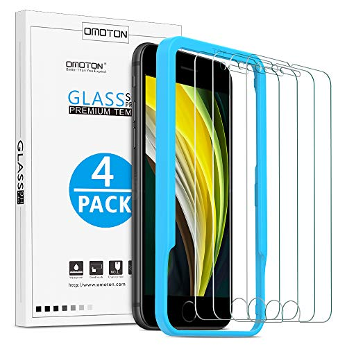 OMOTON [4 Stück] Schutzfolie Kompatibel mit iPhone SE 2020/ iPhone 8/ iPhone 7/ iPhone 6/ 6s, mit Positionierhilfe [9H Festigkeit], [Anti-Kratzen], [Anti-Öl], [Anti-Bläschen].