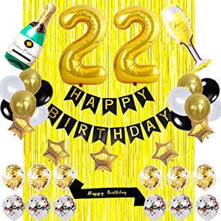 Black sash 22 birthday Party Decorations KIT -HAPPY BIRTHDAY Banner Foil Number Balloons 22 Confetti Balloons Gold Foil Fr...