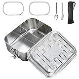 FethFire Edelstahl Lunch Box Groß 1600ml Brotdose, Bento Box,Vesperdose mit Einteiler und 3 Fächern,ZumWandern/Reisen/Schule Kinder und Erwachsene,100% BPA-frei