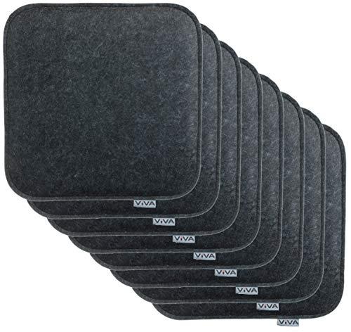 Brandsseller Sitzkissen Filz Eckig Stuhlkissen Sitzpolster Auflagen - 35 x 35 x 2 cm (8er-Vorteilspack, Anthrazit)