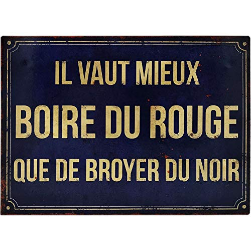 Antic Line Plakette, Motiv 'Boire du Rouge que Broyer du Noir', 21 x 15 cm