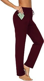 TARSE Womens Drawstring Sweatpants Stretch Straight Leg Yoga Workout Lounge Pants Pockets Trousers(Wine Red,L)