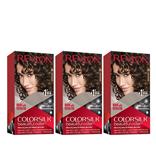 REVLON Colorsilk Beautiful Color Permanent Hair Color with 3D Gel Technology & Keratin, 100% Gray Coverage Hair Dye, 30 Dark Brown, 4.4 oz (Pack of 3)