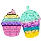 2pack Pop Bubble Sensory Fidget Toys set, Giocattoli per Alleviare lansia Antistress per Autismo Giocattoli Estrusione per Bambini Sensoriale Aiuta a Ripristinare Le Emozioni (Bouteille-A +torta-it2)