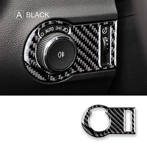 Wcnsxs Kohlefaser, für Chevrolet Camaro 2010 2011 Zubehör Innenverkleidung Scheinwerferschalterknopf für Camaro Aufkleberabdeckung