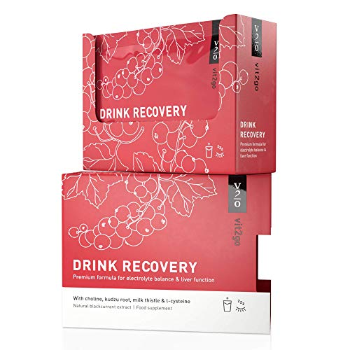 Vit2go Drink Recovery (10 Sachets) - Electrolyte Powder | Liver Detox & Rehydration | Morning After Party Recovery Cure with Vitamins, Magnesium, Choline, Kudzu Root | Made in Germany | Vegan