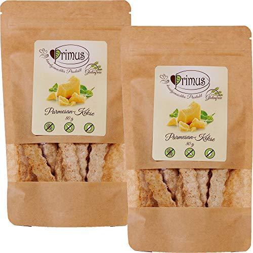 Primus Handgemachte Kekse mit Parmesan, 2x 80 g Doppelpack, köstlicher herzhafter Geschmack, glutenfrei und vegan