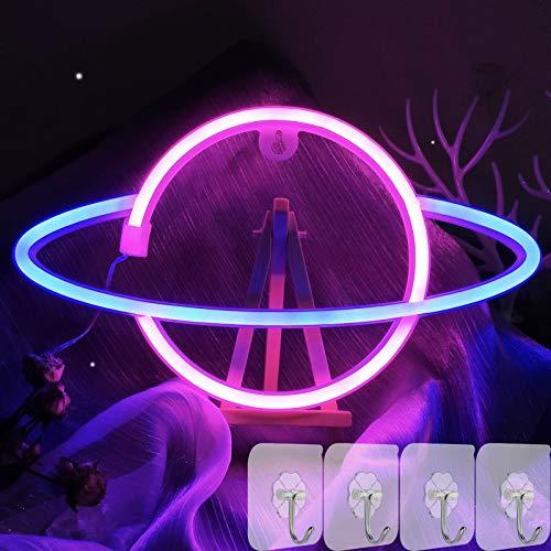 YIVIYAR Planet Neonlicht LED Leuchtschilde Wand Deko, USB/Batterie Planet Leuchtreklame Dekor LED Nachtlampe Cooles Gadget Zimmer Deko für Gaming Room Dekor Weihnachten Party Supply Bar(Pink and Blue)