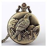 GTUQ Reloj de Bolsillo con Cadena Reloj de Bolsillo de Escultura de Bronce único para Hombres Collar de Mujer Cadena Fob Steampunk Reloj de Cuarzo Retro Relojes de Bolsillo Regalos