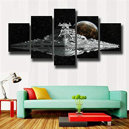 Loveygg 5 Piezas Pintura sobre Lienzo Moderna Pintura Impresión del Hogar Sala Estar Dormitorio Cuadro sobre Lienzo Regalo Carteles Cartel De La Nave Espacial De Star Wars,150x80cm