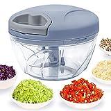 520 ml Handzerkleinerer manuelle Küchenmaschine, Zugschnur zum Schneiden von Gemüse, Zwiebeln, Knoblauch, Nüssen, Tomaten in Sekunden, gebogene Edelstahlklingen