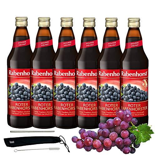 Rabenhorst Saft Roter Rabenhorster 6x 700ml Vegan Roter Traubensaft mit Eisen Aus vollmundigen roten Trauben PLUS fooodz-Trinkhalm Set mit Reinigungsbürste