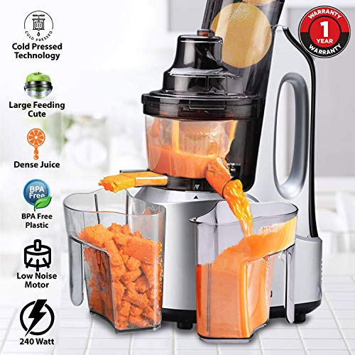 AGARO Imperial 240-Watt Slow Juicer with Cold Press Technology (Grey/Black)