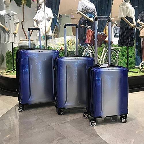 Mdsfe Gradient color original travel luggage simple PC ultralight trolley suitcase 20/24/29 inch boarding case consignment TSA box - Blue (1 pcs), 20'
