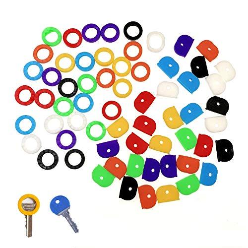JZK Set 64 coprichiavi colorate gomma per identificare chiavi, coperchio chiave, cappuccio copri chiavi gomma per classificare chiavi