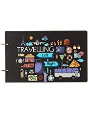 Amazon Brand - Solimo DIY 2 in 1 Printed Photo Album and Scrapbook, 25 x 16 cm, Travelling World