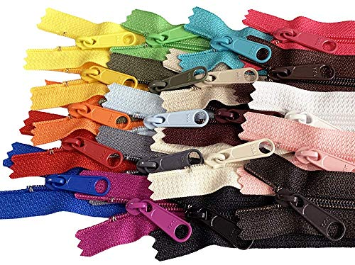 20pcs Mixed Colors Ykk Number 4.5 Coil Handbag Zipper or Purse Zippers Long Pull, Made in USA Pack Vinyl Bag (20 inches)