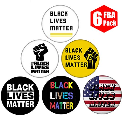 Hamowtux 【FBA in Stock】 6 Pack Black Lives Matter Pin BLM Pin Black Lives Matter Button BLM Button, 2.3 inch Diameter (Group-A)