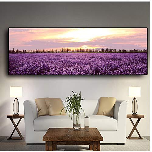 HSFFBHFBH Wandkunst Bild Lavendel Sonnenuntergang Nordische Landschaft Poster und Drucke Leinwandmalerei Blume für Wohnzimmer Dekor 50x150cm (19,7