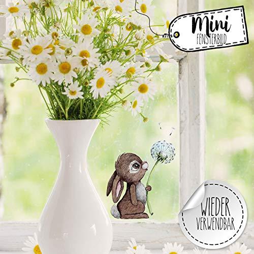 Mini-Fensterbilder Fensterbild Ostern Fuchs Reh Hase Pusteblume wiederverwendbar Fensterdeko bf21mini - ausgewählte Farbe: *bunt* ausgewählte Größe: *3. Hase mit Pusteblume*
