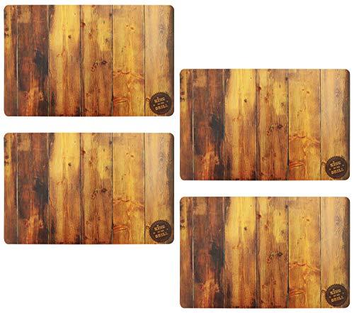 com-four® 4x Edle Tisch-Platzmatte in Holz-Optik