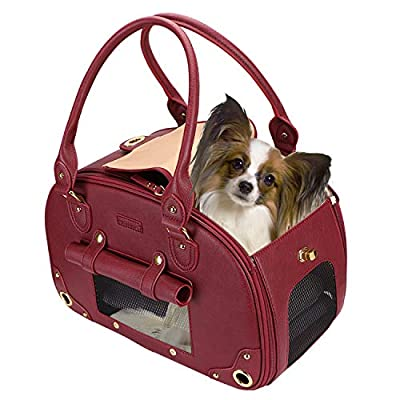 PetsHome Dog Carrier Purse, Pet Carrier, Cat Carrier, Foldable Waterproof Premium Leather Pet Travel Portable Bag Carrier for Cat and Small Dog Home& Outdoor Wine Red