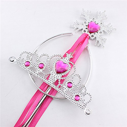 Redcolourful Princess Dress Up Accessoires Tiara Couronne et Flocon de Neige Baguette Set Enfants Cosplay Accessoires Rose