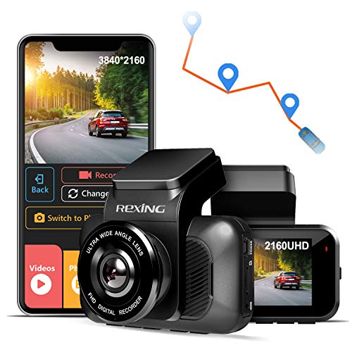 REXING V5 Dash Cam Premium 4K Modular Capabilities 3840x2160@30fps UHD WiFi GPS Car Camera Recorder Sony IMX335 Night Vision, Loop Recording, Parking Monitor, Supercapacitor, Support 256GB Max