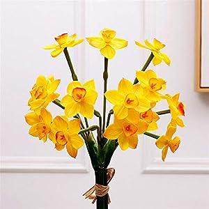 TRRT Fake Plants Artificial Latex Daffodils Bouquet, Simulation Flowers, DIY Wedding Decoration Home Decor Fake Flower