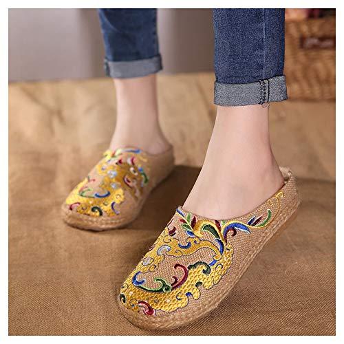 WXDP Pantuflas Calientes,Zapatillas Mujer Mujer Zapatillas, Zapatillas mullidas Old Beijing Zapatilla Transpirable Fino Estilo étnico Bordado Zapatos Zapatilla Plana, Inicio Sandalias de Cabeza r