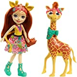 Enchantimals Mini-poupée articulée Gillian Girafe et Grande Figurine Animale Pawl, rousse avec jupe à motifs en tissu, jouet enfant, FKY74