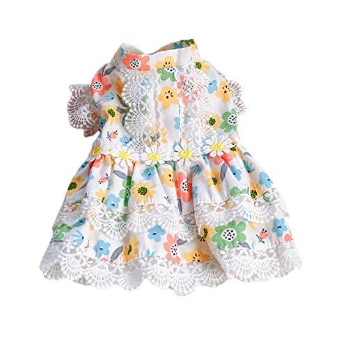 Leyeet Pet Dog Dress Puppy Lace Hemline Bloemenjurk Feestkostuum voor kleine honden