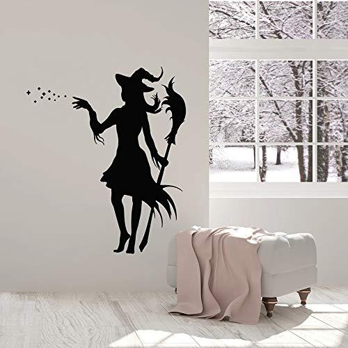 Tianpengyuanshuai wandbehang heks met bezem meisjes magische raamsticker van vinyl decoratie huis slaapkamer muur