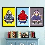 HXLZGFV Pinturas en Lienzo para Hombre Burger Shop, póster de superhéroe, Arte de Pared, Mural, impresión, decoración del hogar de la habitación de los niños, 35x50cmx2Pcs, sin Marco