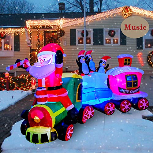 SEASONBLOW 8 Ft LED Lighted Inflatables Christmas Train with Santa Claus,Penguin Decorations Inflatable with Music for Yard Garden Lawn Indoors Outdoors Home