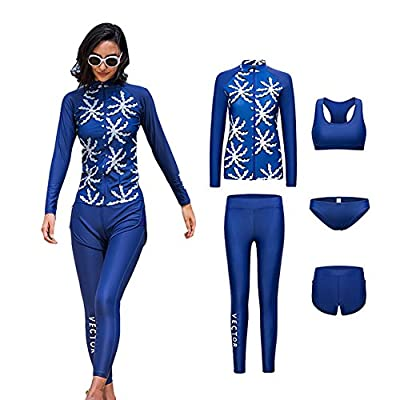 VECTOR 5Pcs Women Long Sleeve Wetsuit Swimsuit Shirt Printed Surfing Pants Diving Snorkeling Suits UPF 50+ UV Sun Protection