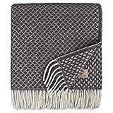 Linen & Cotton Manta Plaid para Sofá/Cama Sofia, 100% Lana Nueva Zelanda - 130 x 170cm (Gris)
