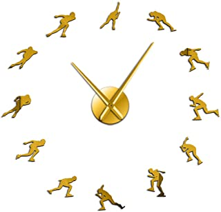Wall Clocks Large Winter Sport Wall Watch High Speed ​​Quiet Quartz Wall Clock Speed ​​Skating Art Decor Diy Art Room Gold...