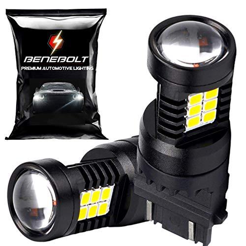 BENEBOLT 3600 Lumens 3157 LED Bulb White - 3156 3057 4114 4157 LED bulb - Mega LED Reverse lights - DRL - Brake Light - Tail light with HD projector lens and Cooling vent - 2 Pack