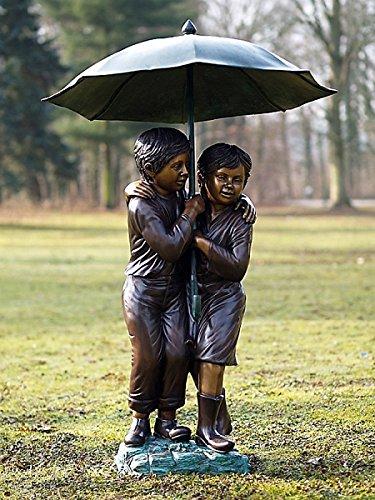 pompidu-living Wasserspeier Kinder unter Regenschirm, Bronze