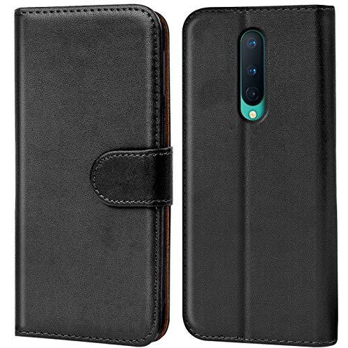 Verco OnePlus 8 Hülle, Handyhülle für OnePlus 8 Tasche PU Leder Flip Hülle Brieftasche, Schwarz