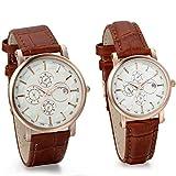 JewelryWe Reloj de Parejas los Enamorados Retro Reloj de Cuarzo con Calendario Tres Ojos de decoración Correa de Cuero marrón Elegante Regalo de San Valentín