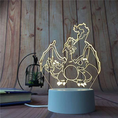 La nueva historieta de la luz del regalo de Navidad lindo de la puntada 3D noche LED de 7 colores Cambio tabla del bebé del sueño de la lámpara Decoración de vacaciones de los niños Año Nuevo