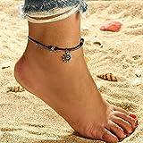Homeofying Doble capa de bola redonda cadena sol colgante sandalia tobillera tobillera pulsera Boho Beach vocación vacaciones tobillera para mujeres Negro