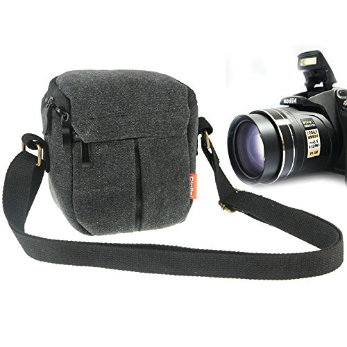 Le Choix de Cici Sac de Toile de caméra numérique Portable avec Bracelet, Taille: 13.5cm x 9cm x 14cm (Noir) (Color : Black)
