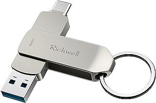 USB C-pinnar 128 GB USB 3.0-sticks 2-i-1 USB C minne Stick Flash Drive Richwell High Speed Metal Thumb Drive för PC, surfp...