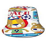 Sombrero Pescador Unisex,Ilustración de vector de dibujos animados lindo equipo de fútbol de,Plegable Sombrero de Pesca Aire Libre Sombrero Bucket Hat para Excursionismo Cámping De Viaje Pescar
