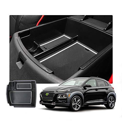 RUIYA Aufbewahrungsbox Aufbewahrungskiste Mittelkonsole Veranstalter Armlehne Box angepasst Console Armlehne Box angepasst für 2018 Hyundai Kona(Benzin-und Dieselmodell), Konsole Organizer Box (weiß)